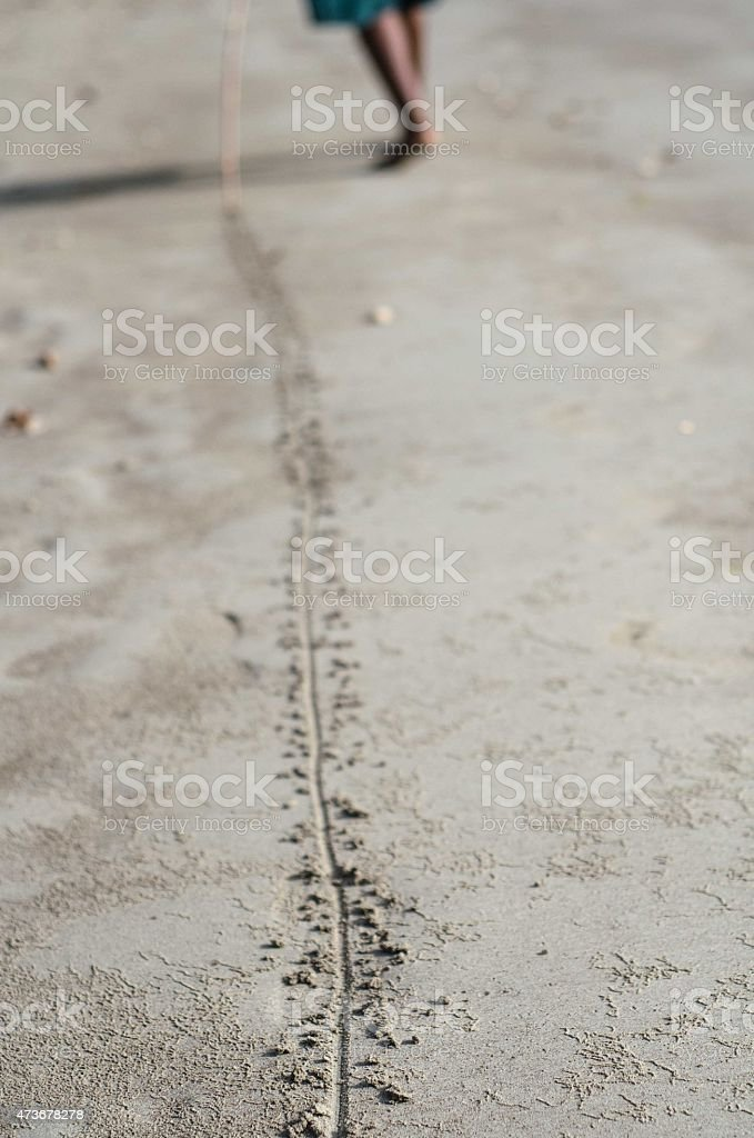 drawing a line in the sand stock photo