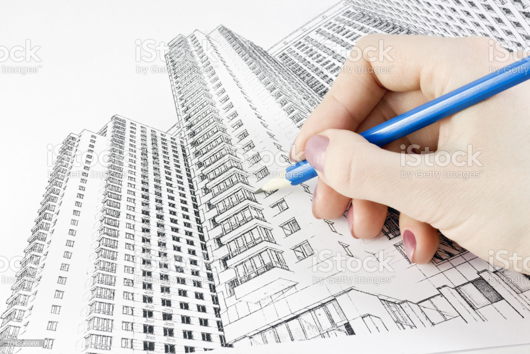 drawing a new home royalty-free stock photo