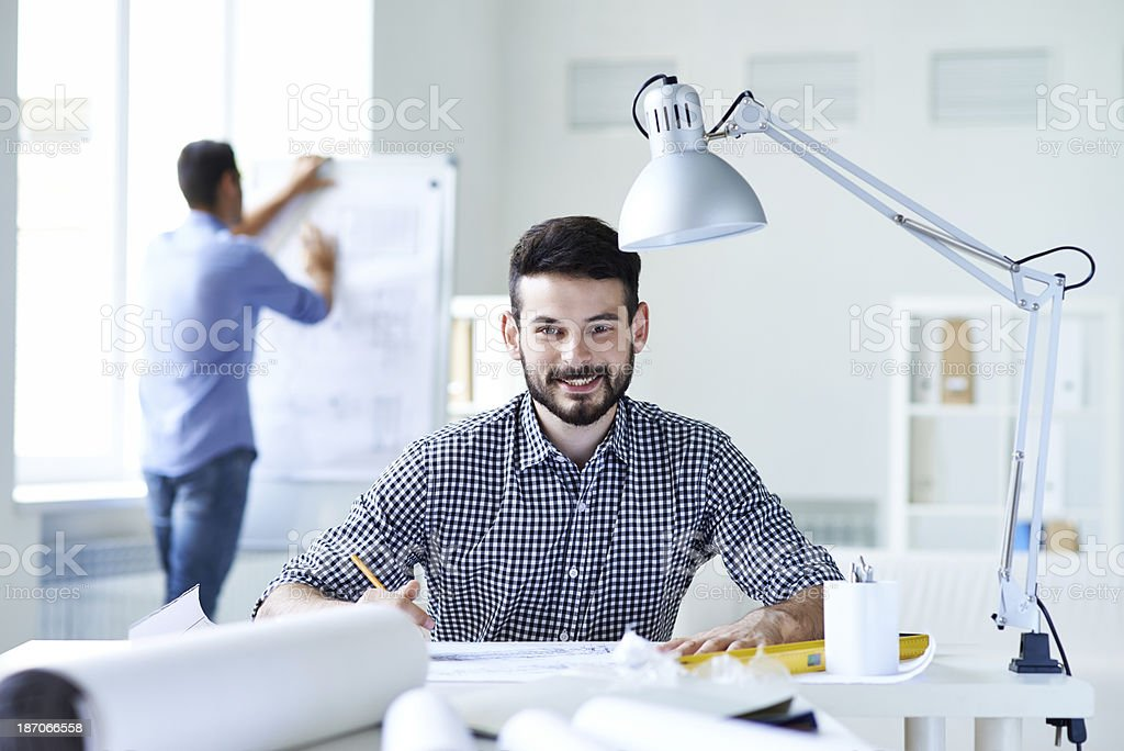 Drawing a plan royalty-free stock photo