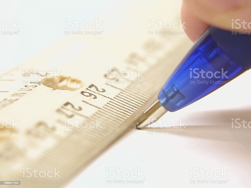 Drawing A Straight Line stock photo