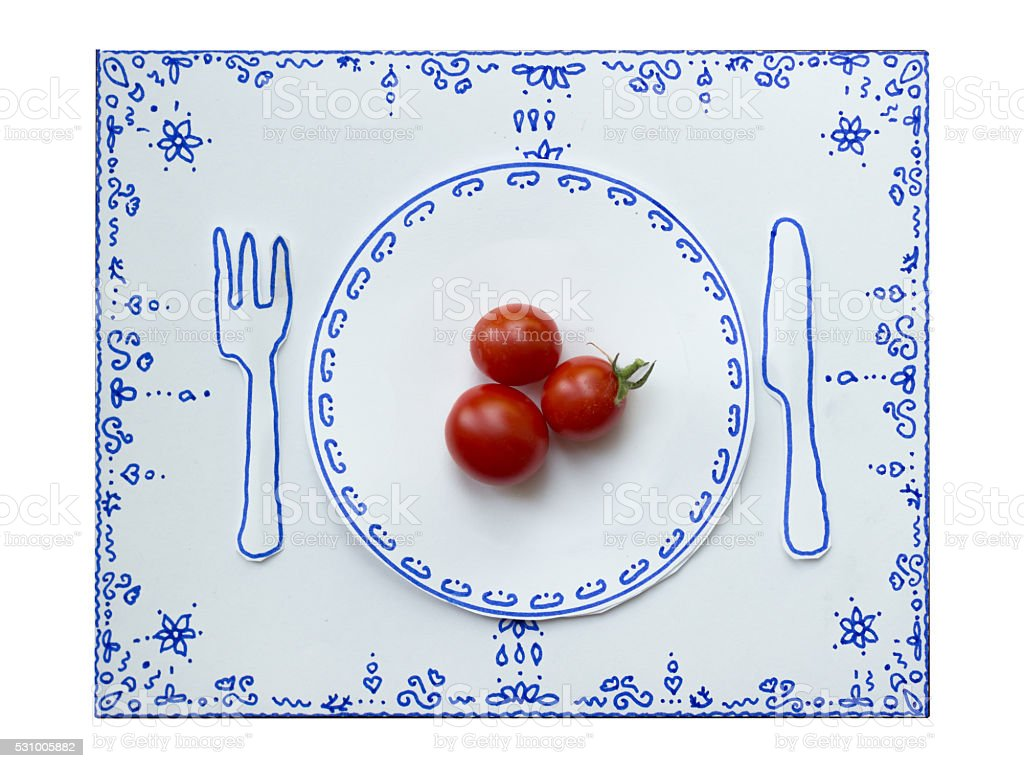 Drawing and food, Cherry Tomatoes stock photo