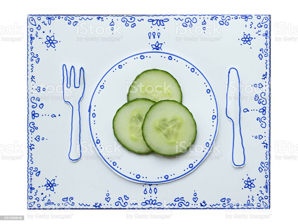 Drawing and food, Cucumber stock photo