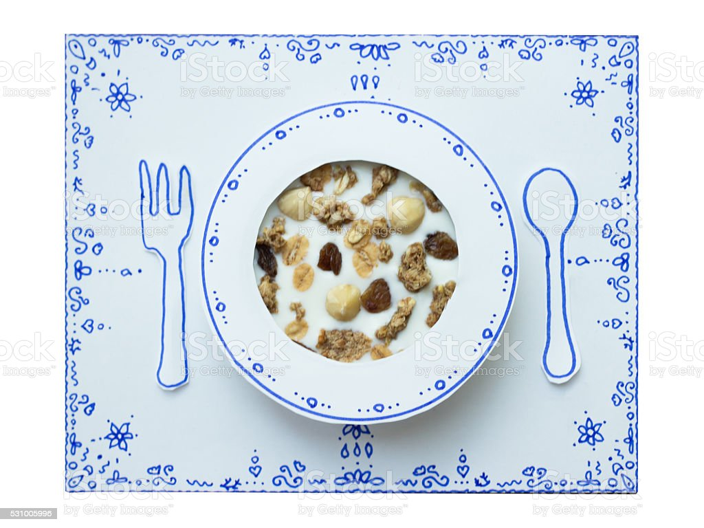 Drawing and food, Muesli stock photo