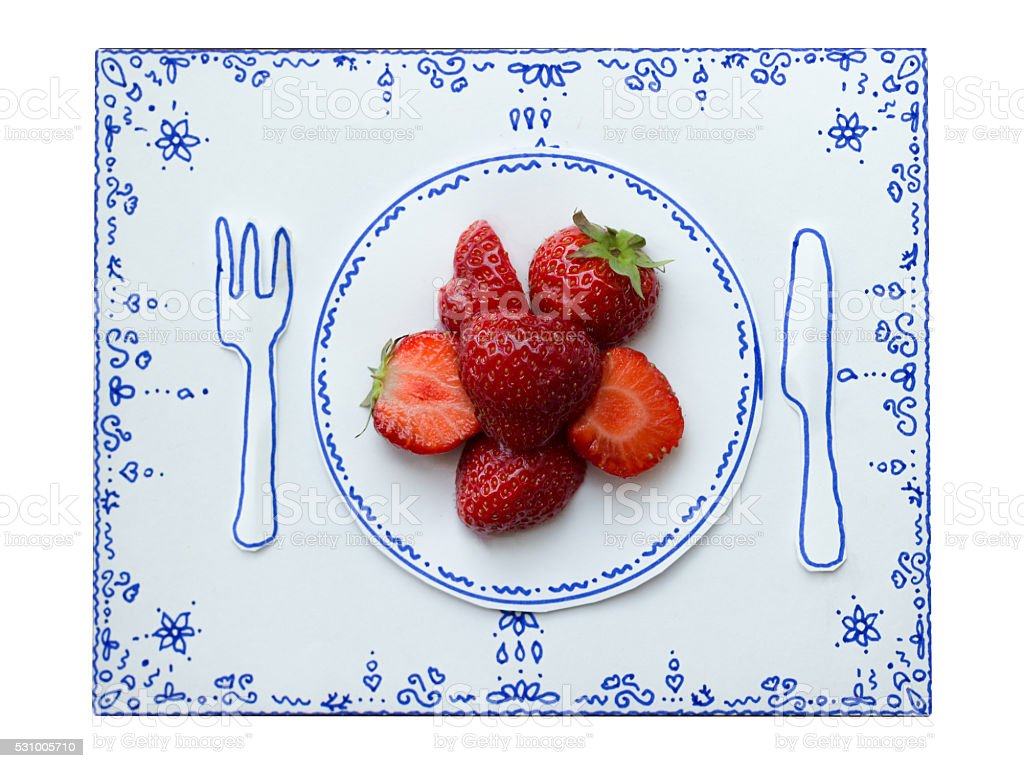 Drawing and food, Strawberries stock photo
