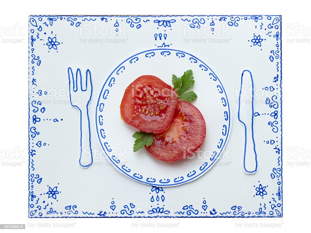 Drawing and food, Tomato slices stock photo