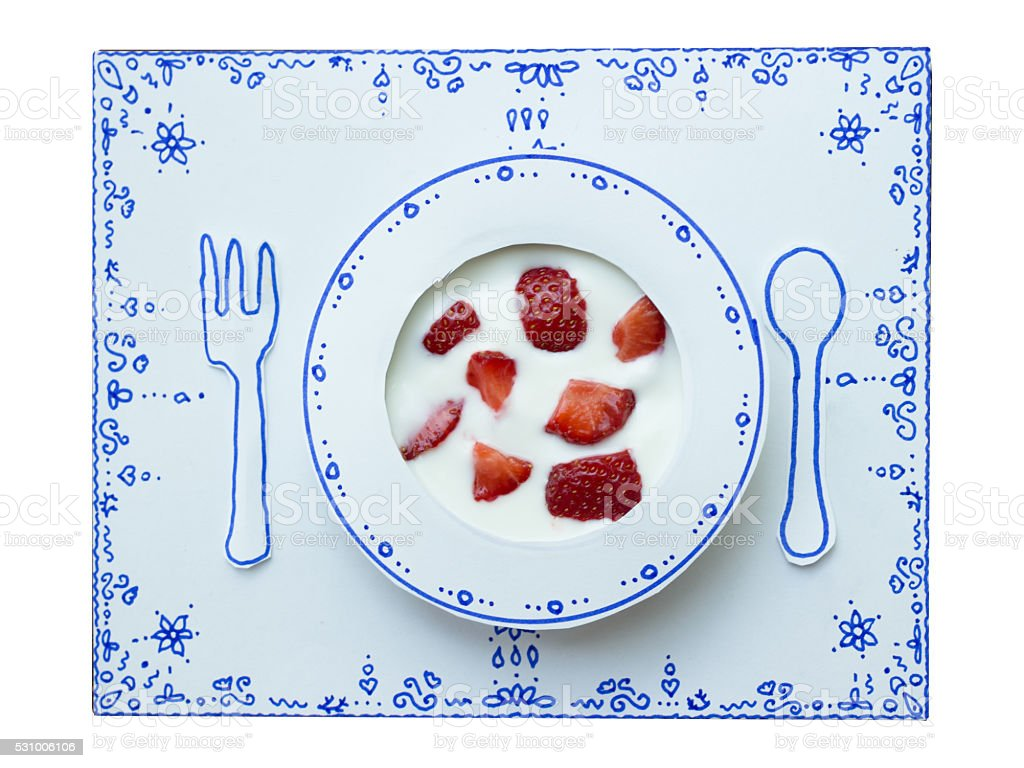 Drawing and food, Yoghurt and Strawberries stock photo