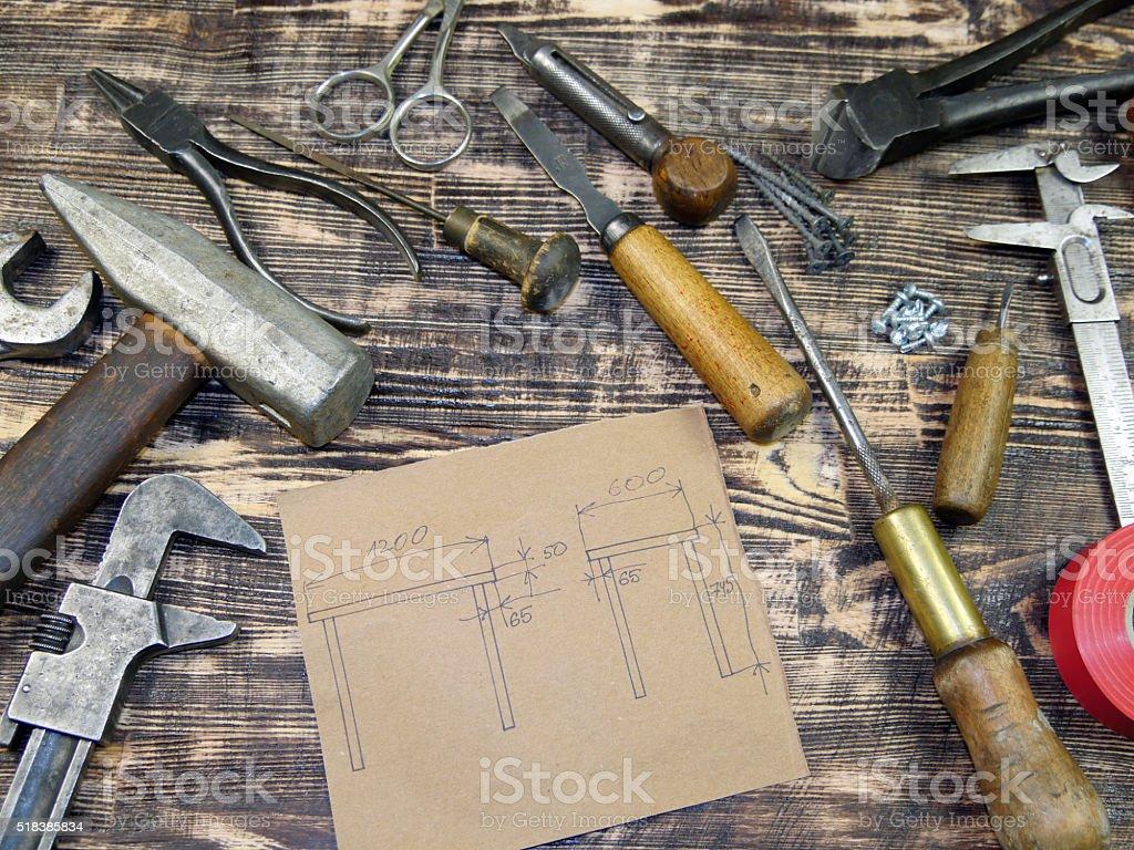 Instrumentos de dibujo y foto de stock libre de derechos