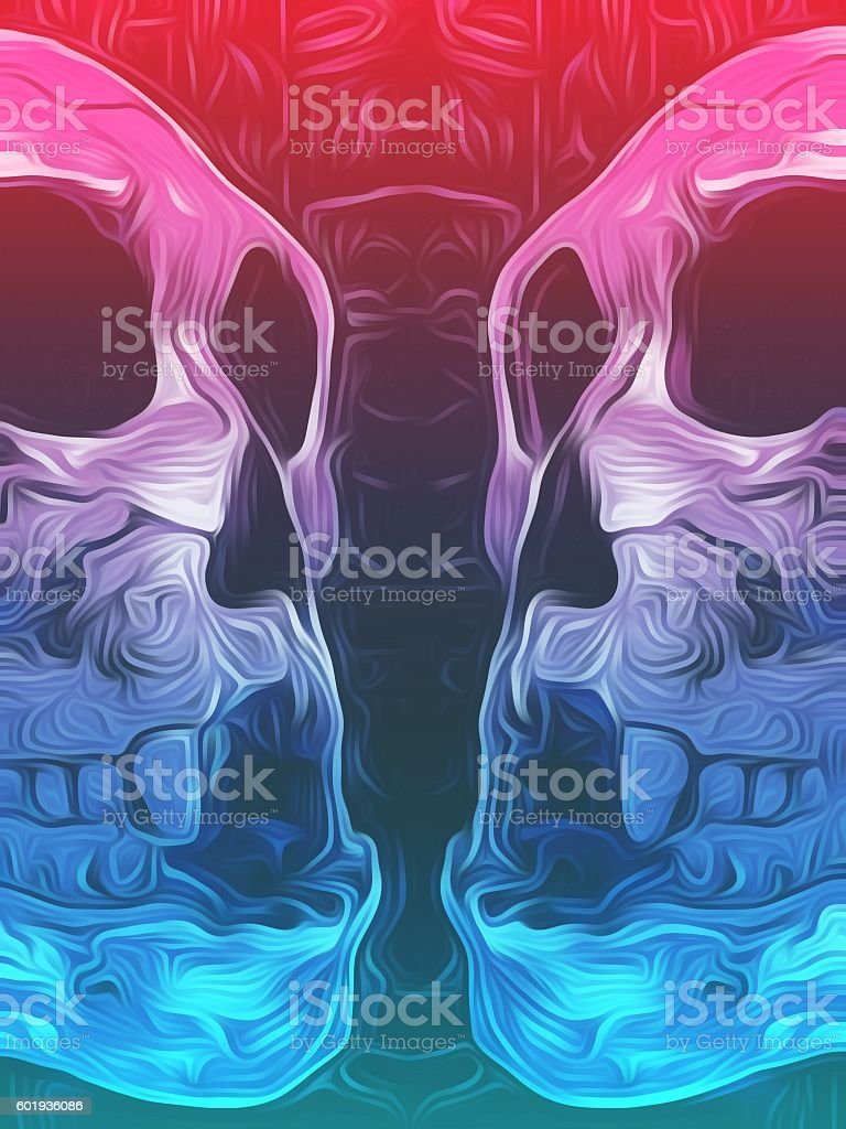 drawing and painting pink and blue skull stock photo