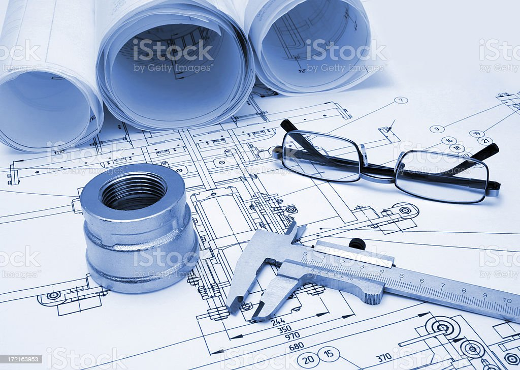 drawing and tools with glasses royalty-free stock photo