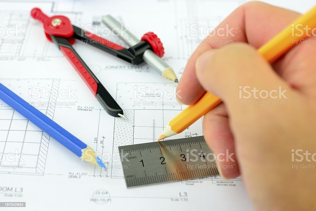 Drawing architectural drawings royalty-free stock photo