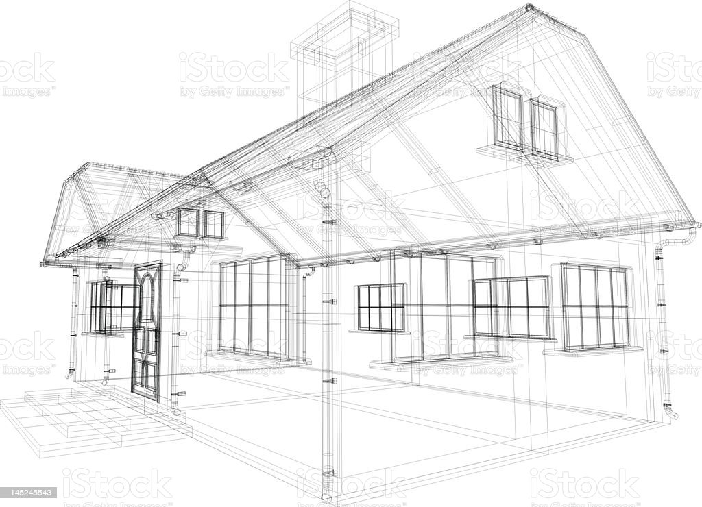 Drawing architectural house family royalty-free stock photo