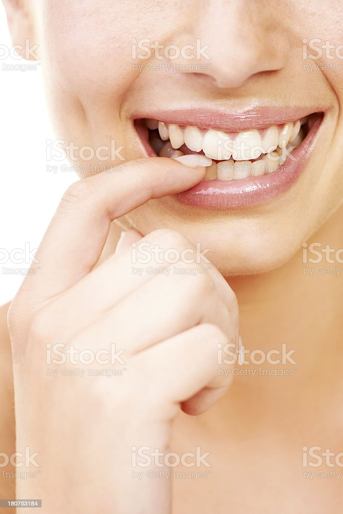 Drawing attention to her radiant smile royalty-free stock photo