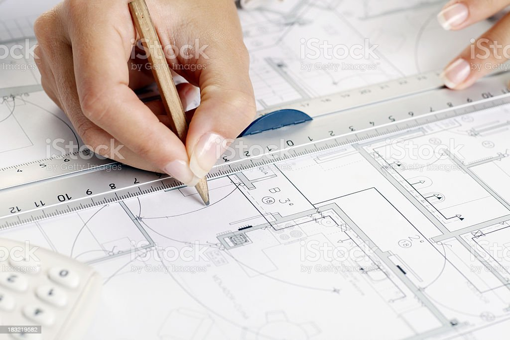 Drawing blueprints royalty-free stock photo