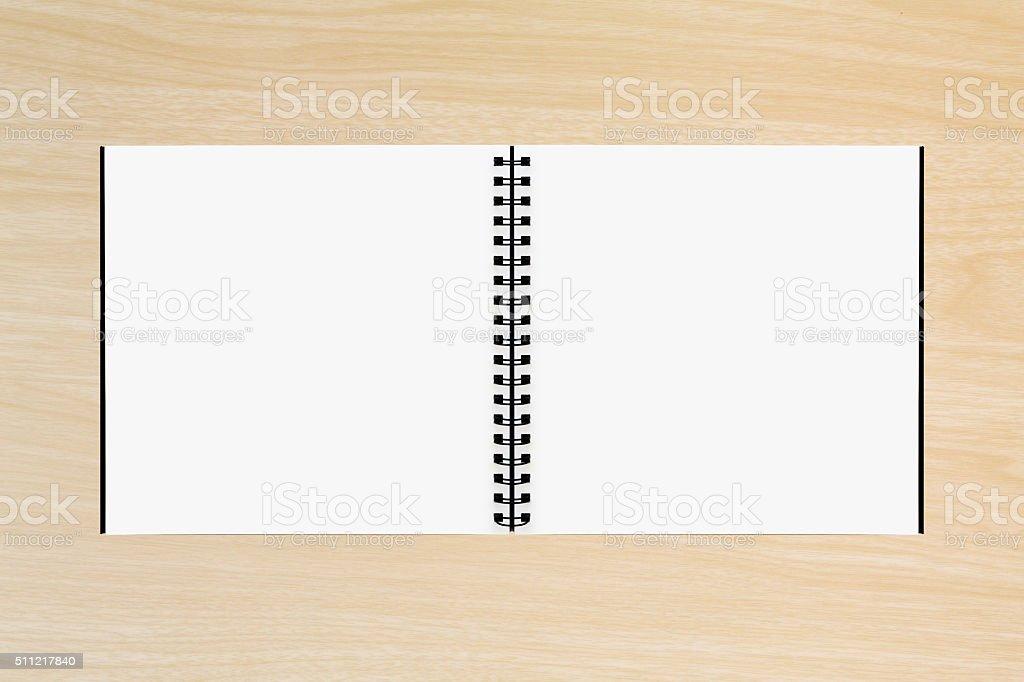 Drawing book on Wood background stock photo