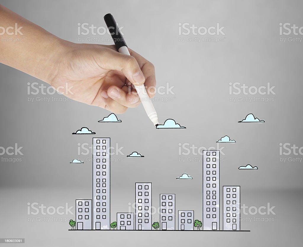 drawing Buildings and cityscape royalty-free stock photo