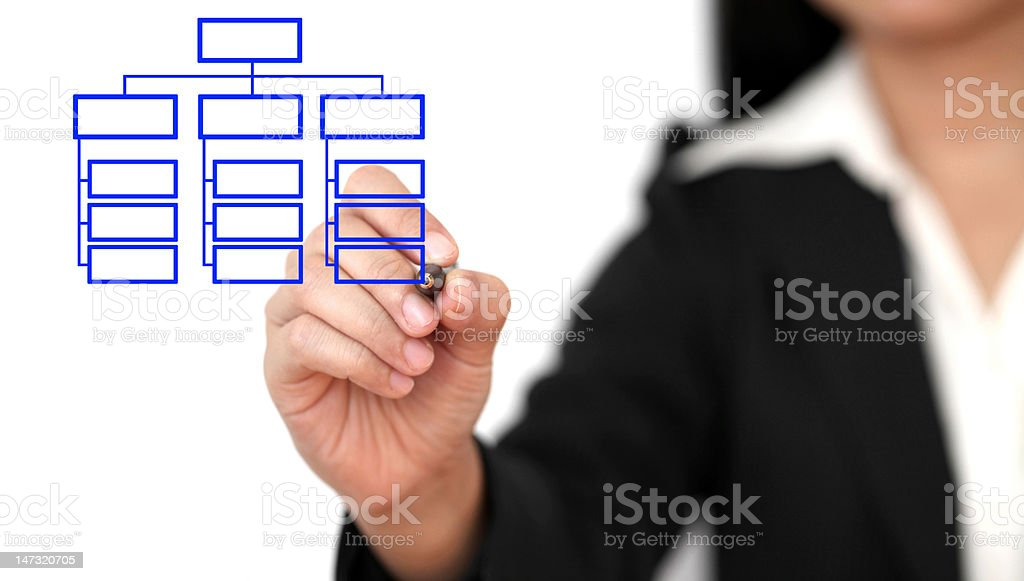 drawing business organization chart stock photo