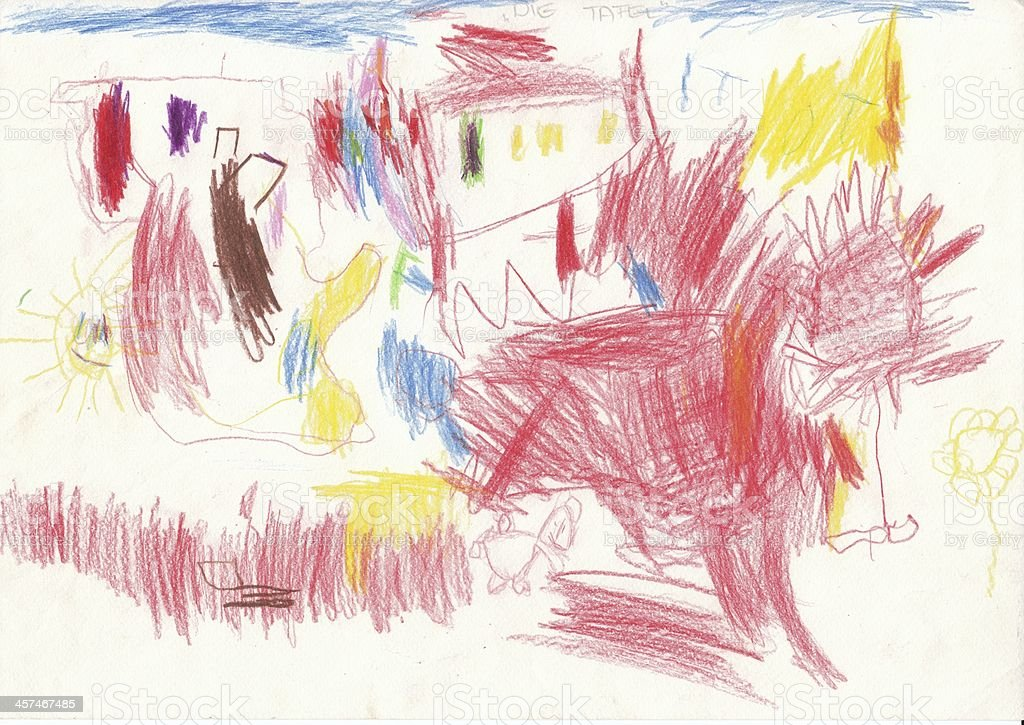 Drawing by a 4 year old Child - Unser Gruppenraum stock photo