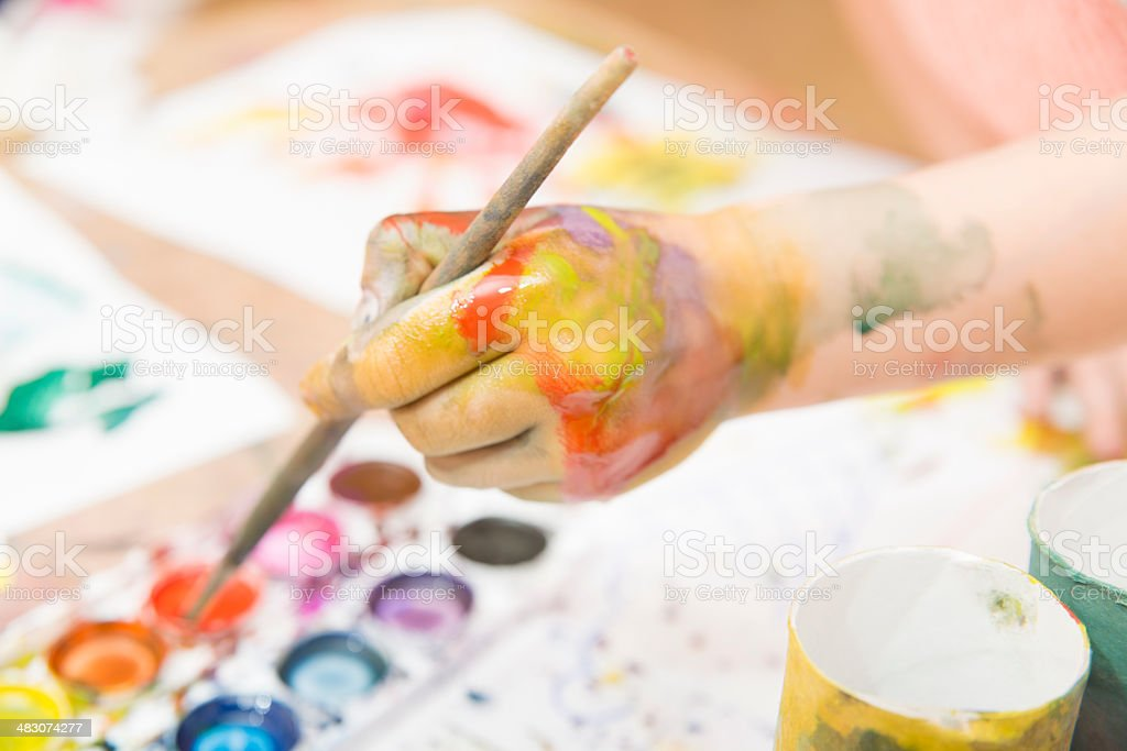 drawing by paints stock photo