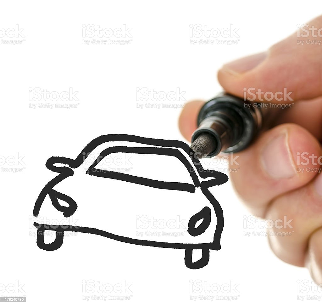 Drawing car on virtual whiteboard royalty-free stock photo