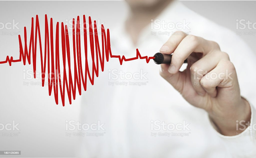 drawing chart heartbeat stock photo