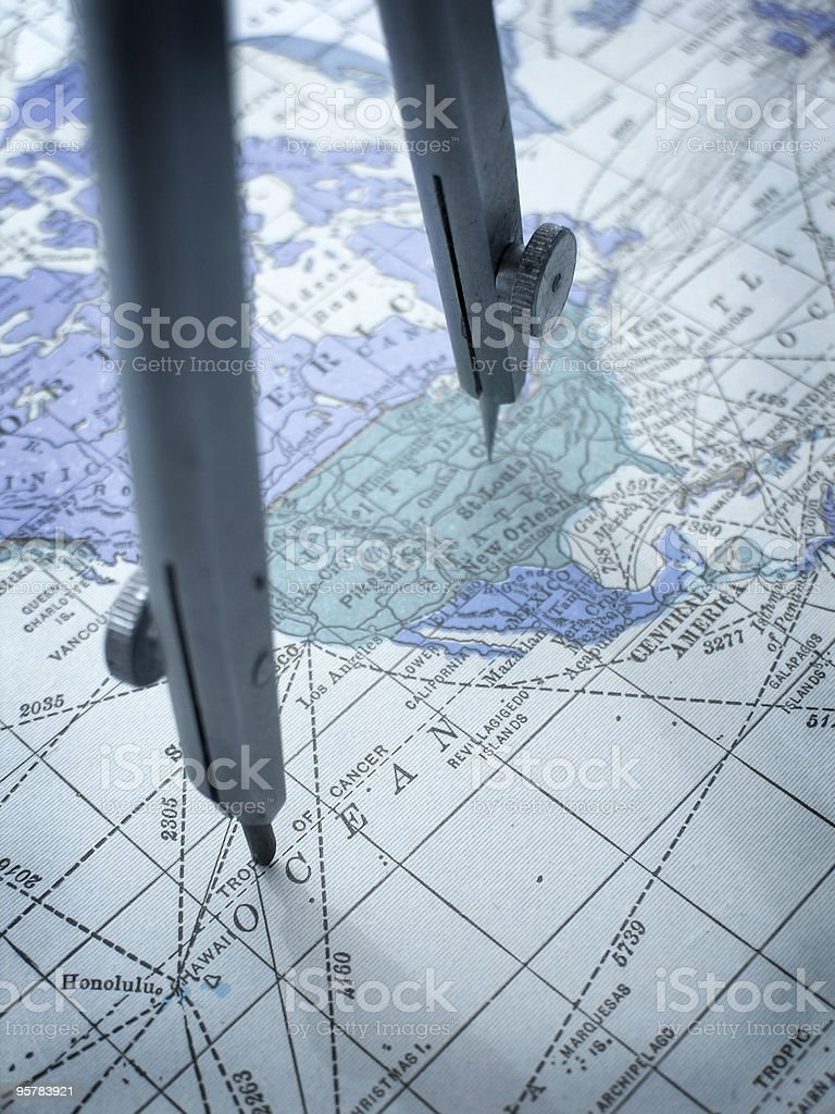 Drawing Compass and Map royalty-free stock photo