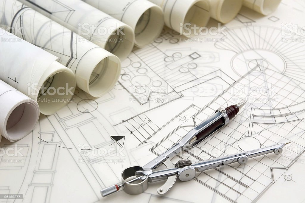 Drawing Compass & Blueprints stock photo