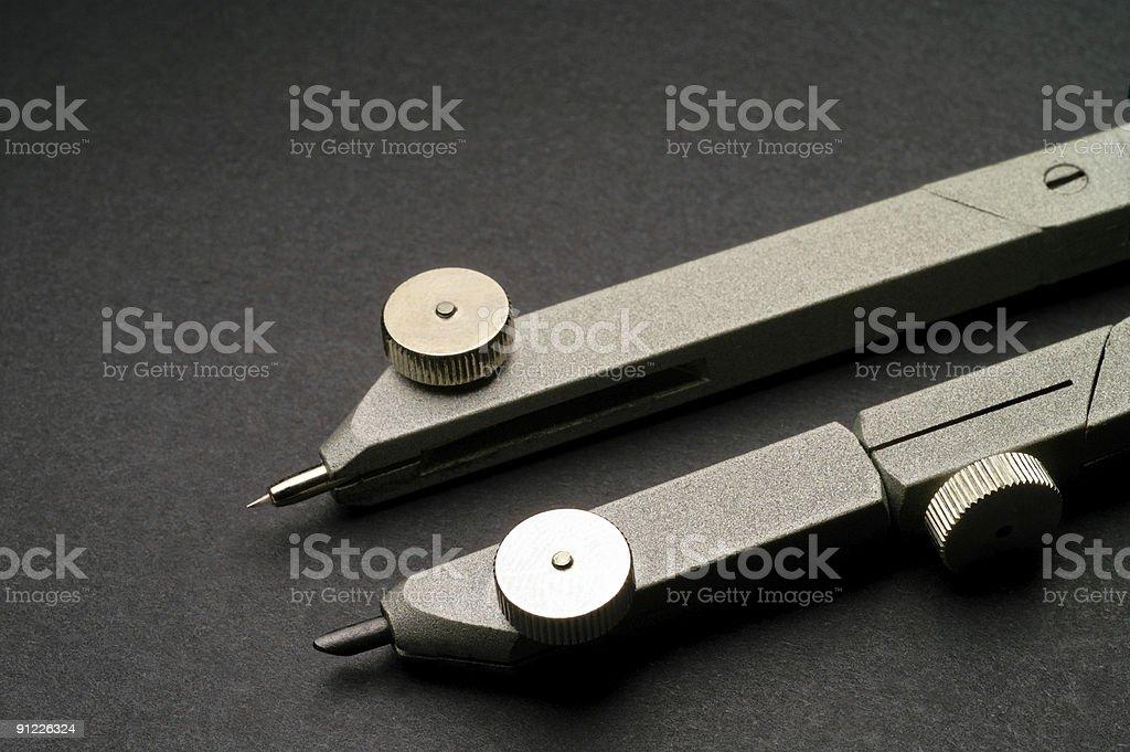 Drawing compass closeup royalty-free stock photo