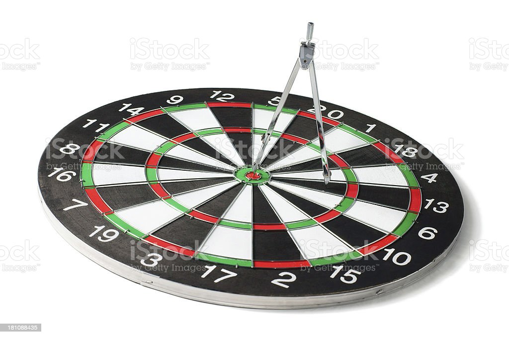 Drawing Compass on Dartboard royalty-free stock photo