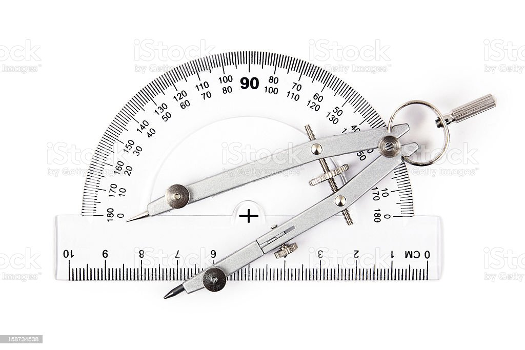 drawing compass on protractor stock photo