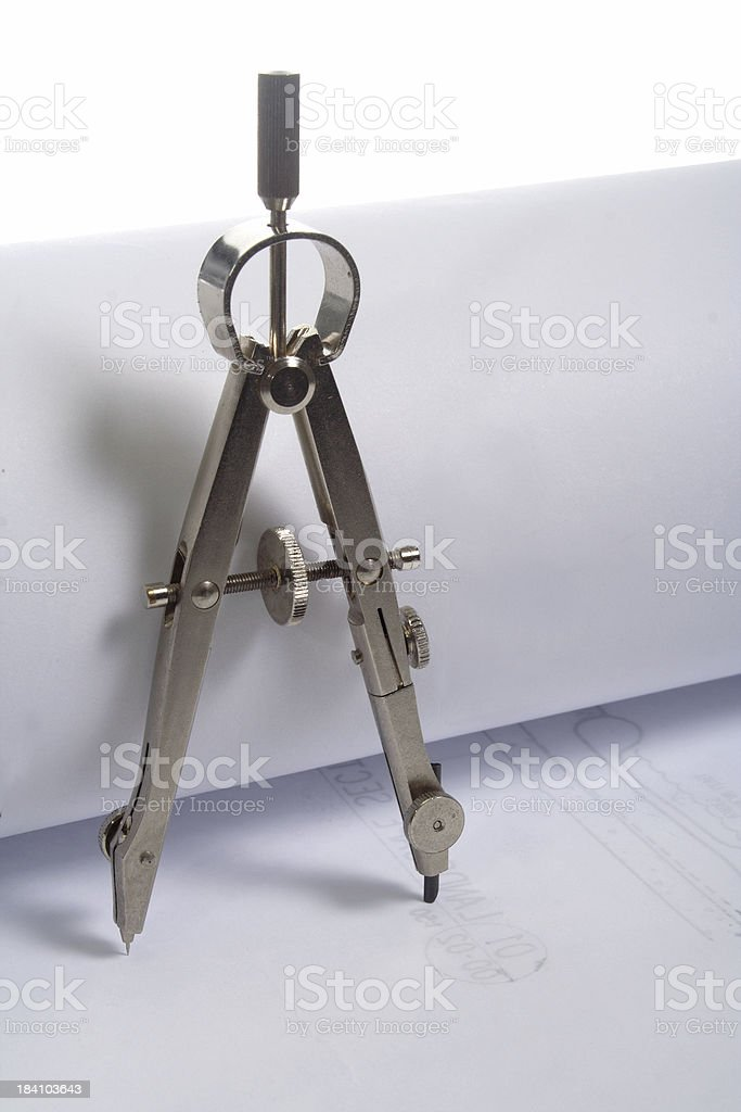 drawing compass plans standing royalty-free stock photo