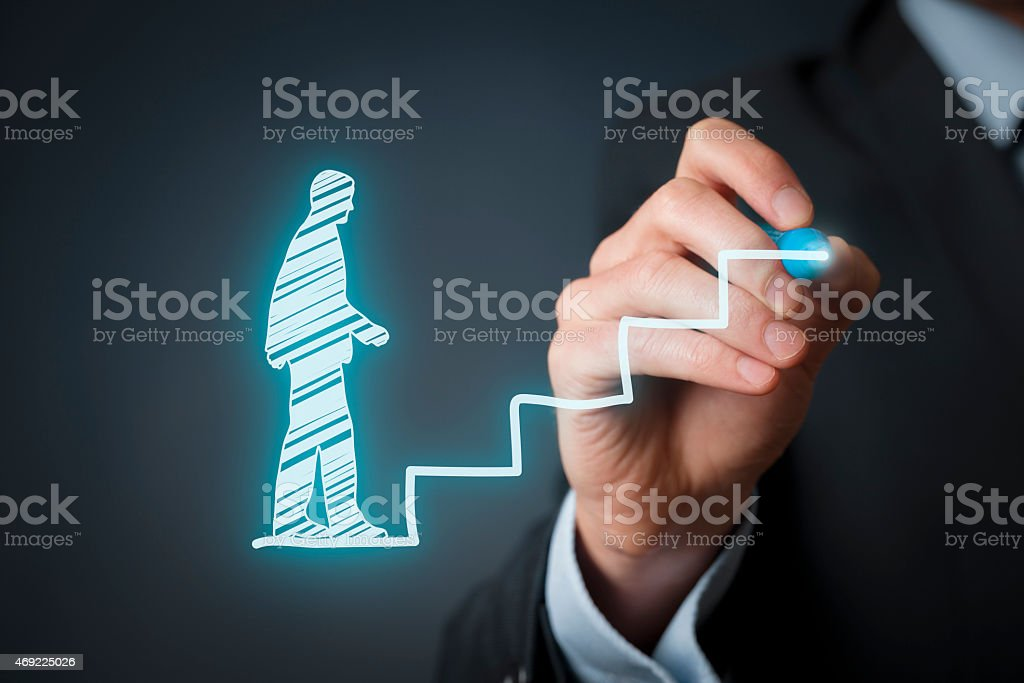 Drawing depicting personal development during one's career stock photo