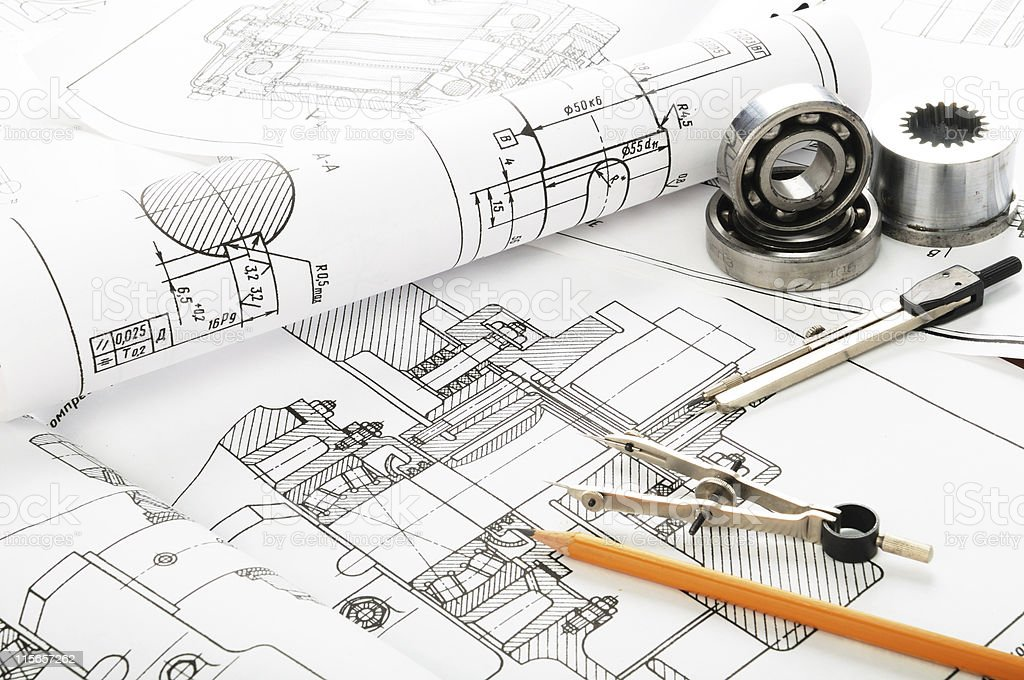 Drawing details with blueprint for home royalty-free stock photo