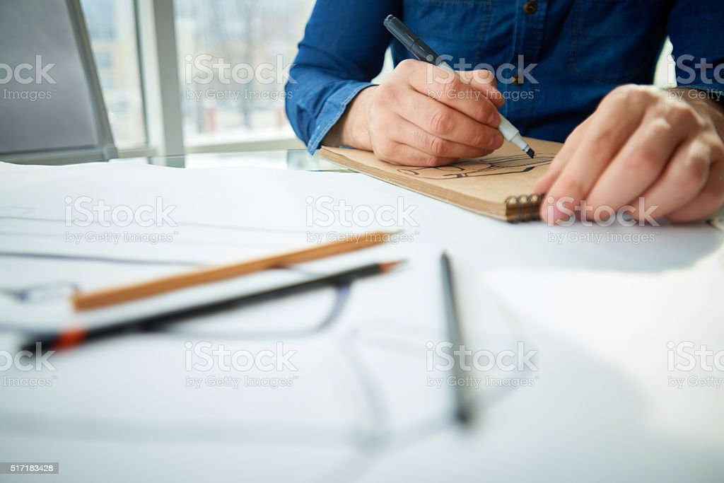 Drawing dream car stock photo