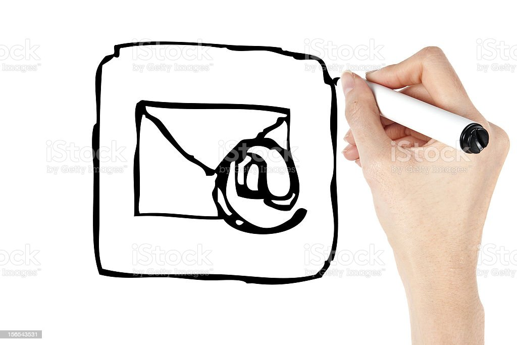 Drawing email icon stock photo