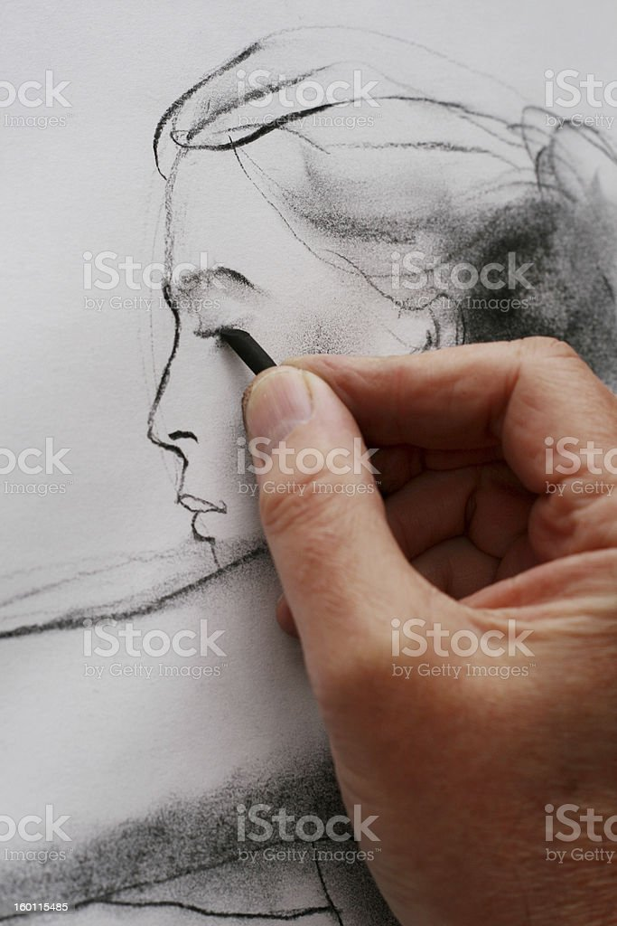 Drawing from a model royalty-free stock photo