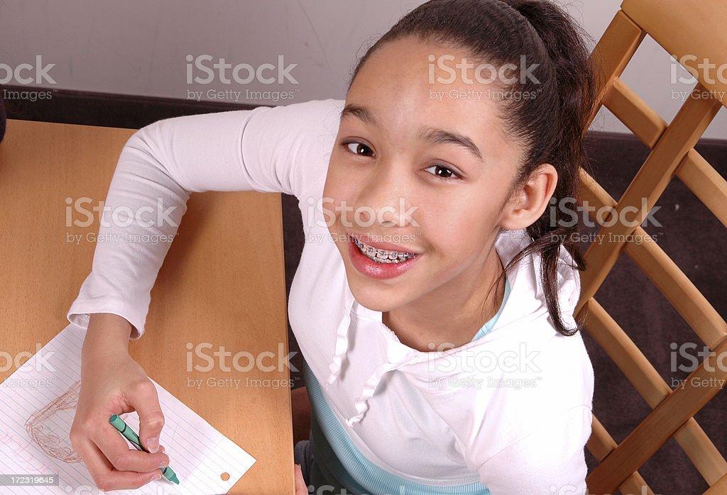 Drawing girl stock photo