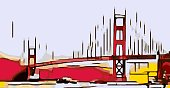 drawing Golden Gate bridge, San Francisco, USA