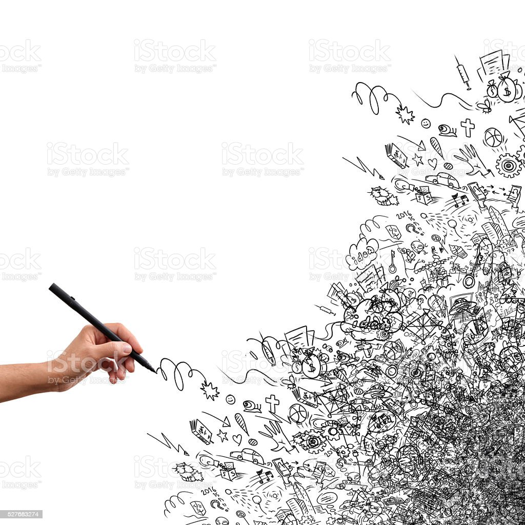 Drawing hand, creative doodle stock photo