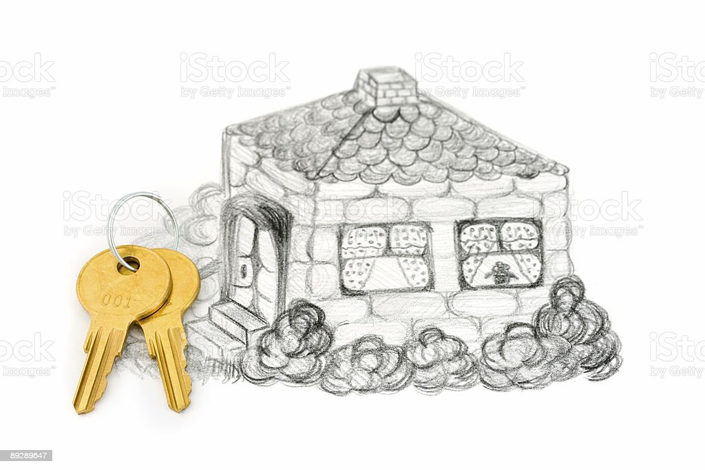 Drawing house (my picture) and keys royalty-free stock photo