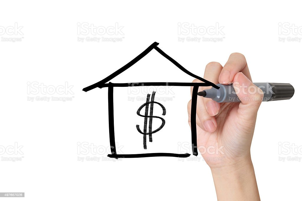 drawing house on white background stock photo