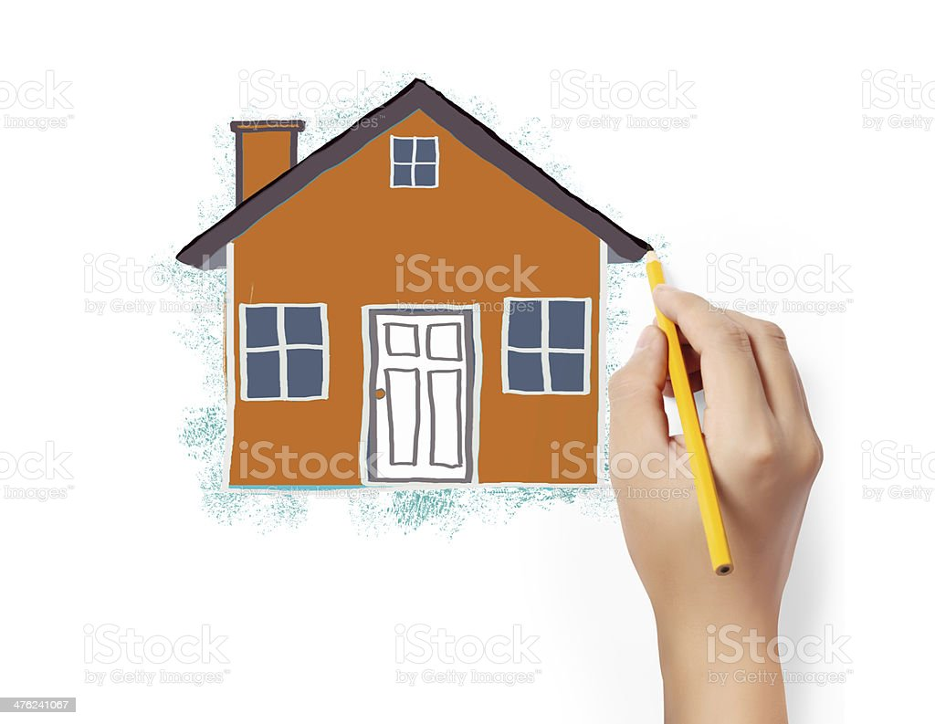 drawing house royalty-free stock photo