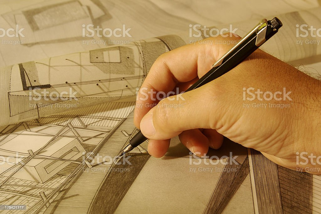 Drawing houses royalty-free stock photo