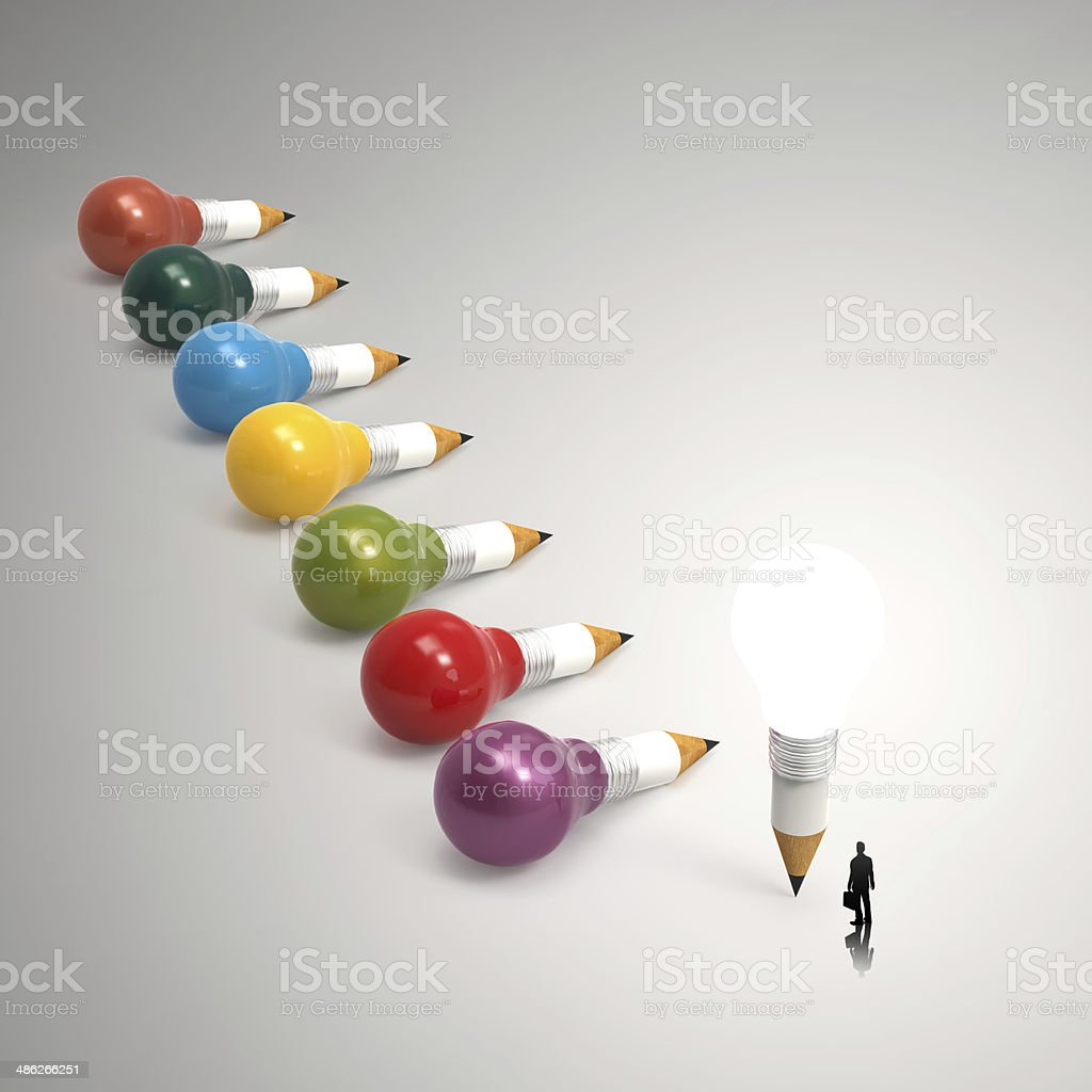 drawing idea pencil and light bulb 3d concept creative royalty-free stock photo