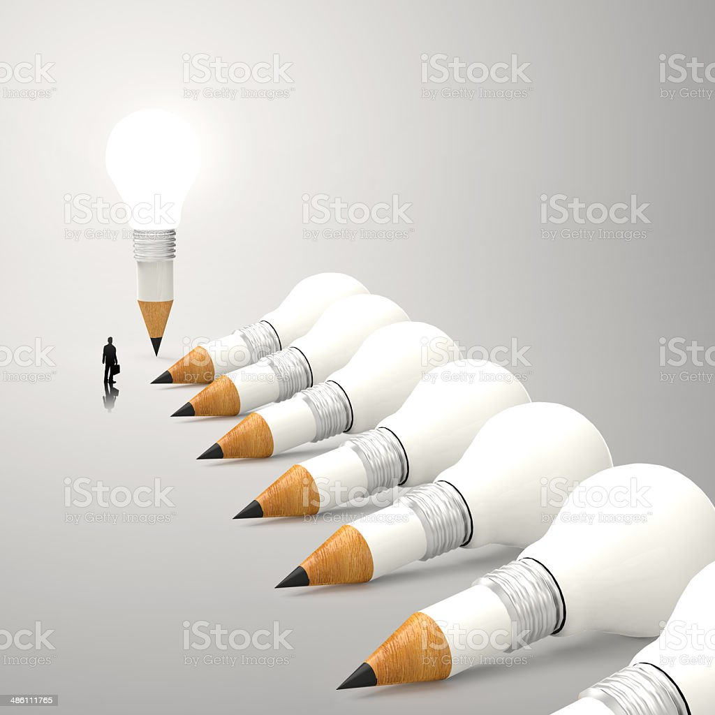 drawing idea pencil and light bulb 3d concept royalty-free stock photo