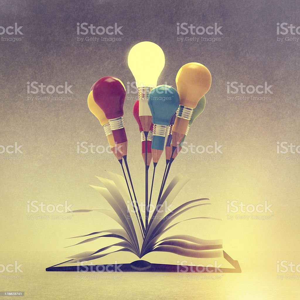 drawing idea pencil and light bulb concept outside the book royalty-free stock photo