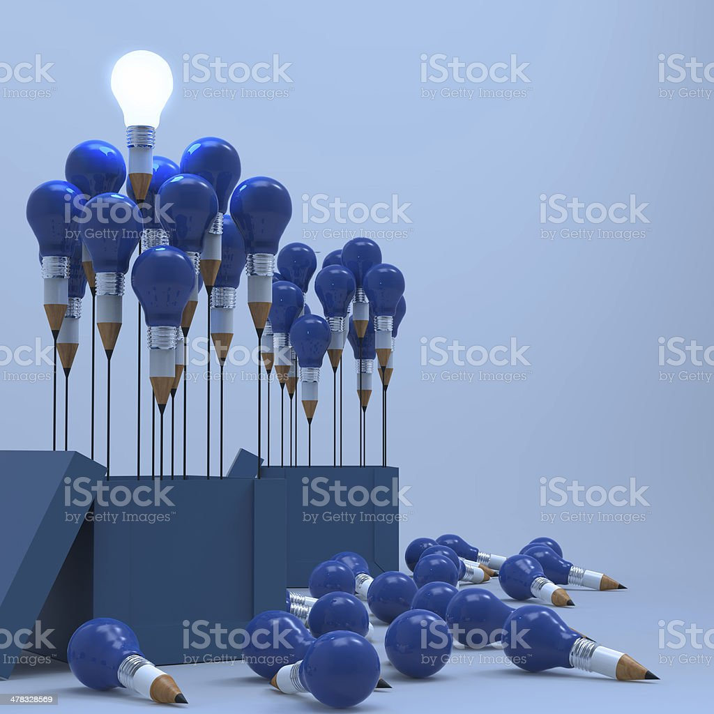 drawing idea pencil and light bulb concept outside the box royalty-free stock photo