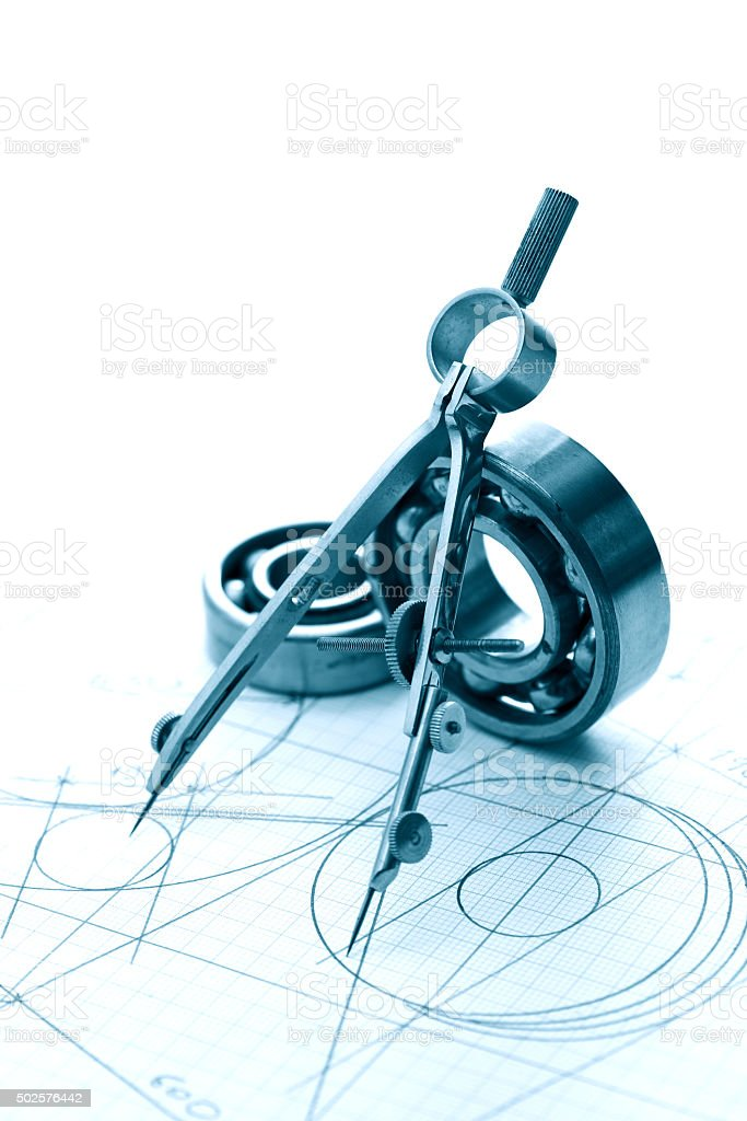 Drawing Instrument And Ball Bearings stock photo