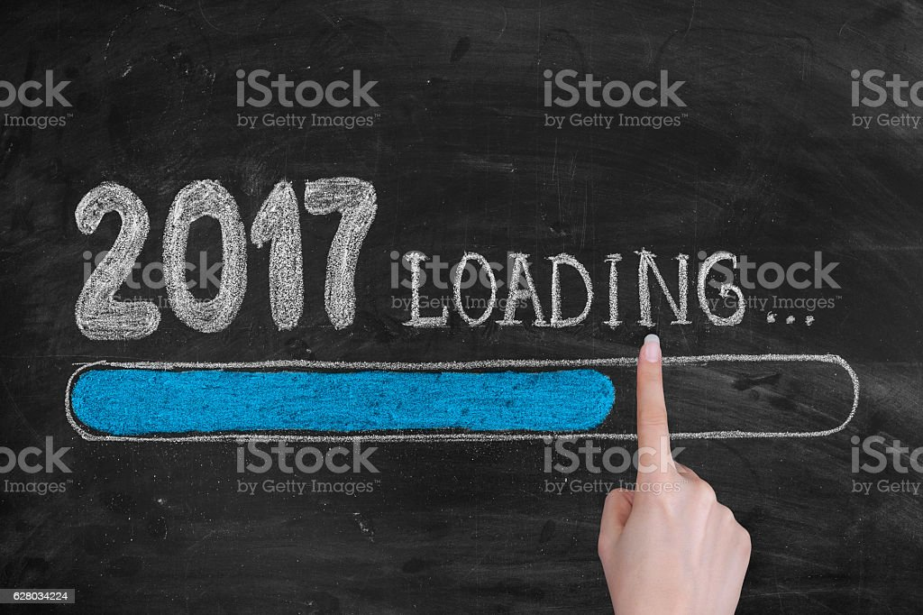 Drawing Loading New Year 2017 on Chalkboard stock photo