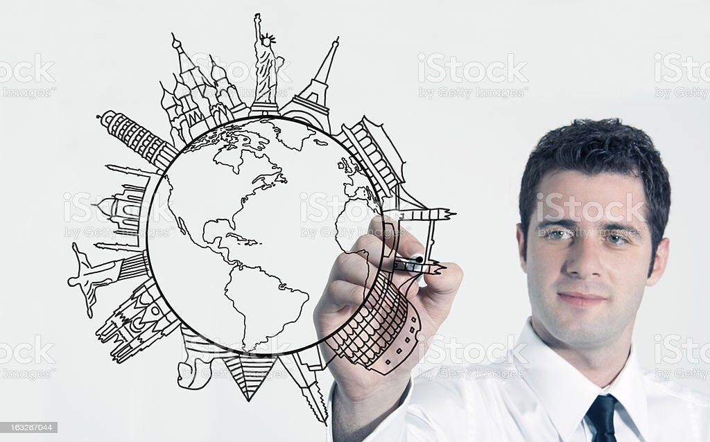 Drawing new world on screen royalty-free stock photo
