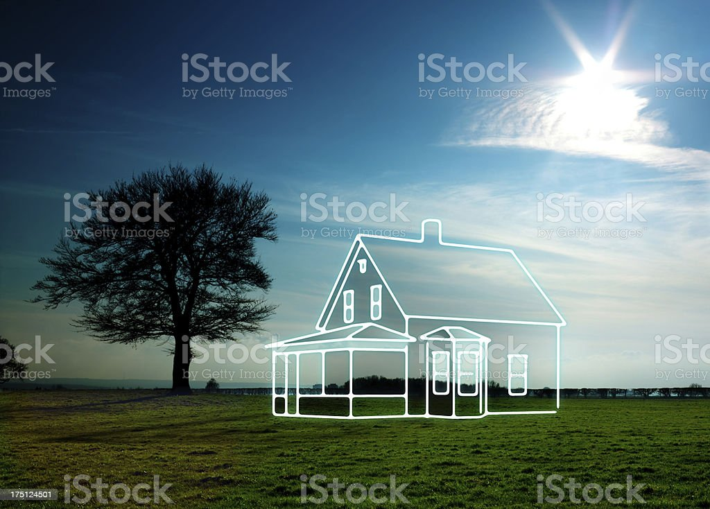 drawing of a house in nature stock photo